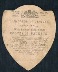 1902 Baines football trade card Play Up England, no frame football packets back